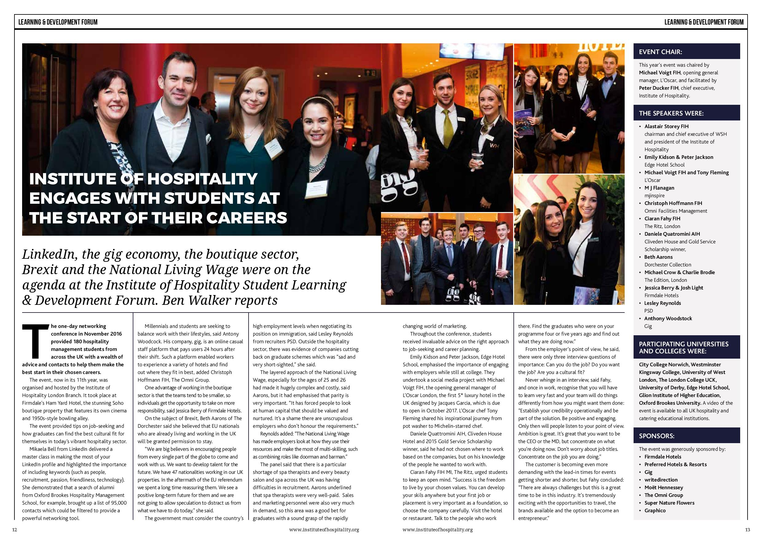 Institute of Hospitality engages with Student at the start of their careers