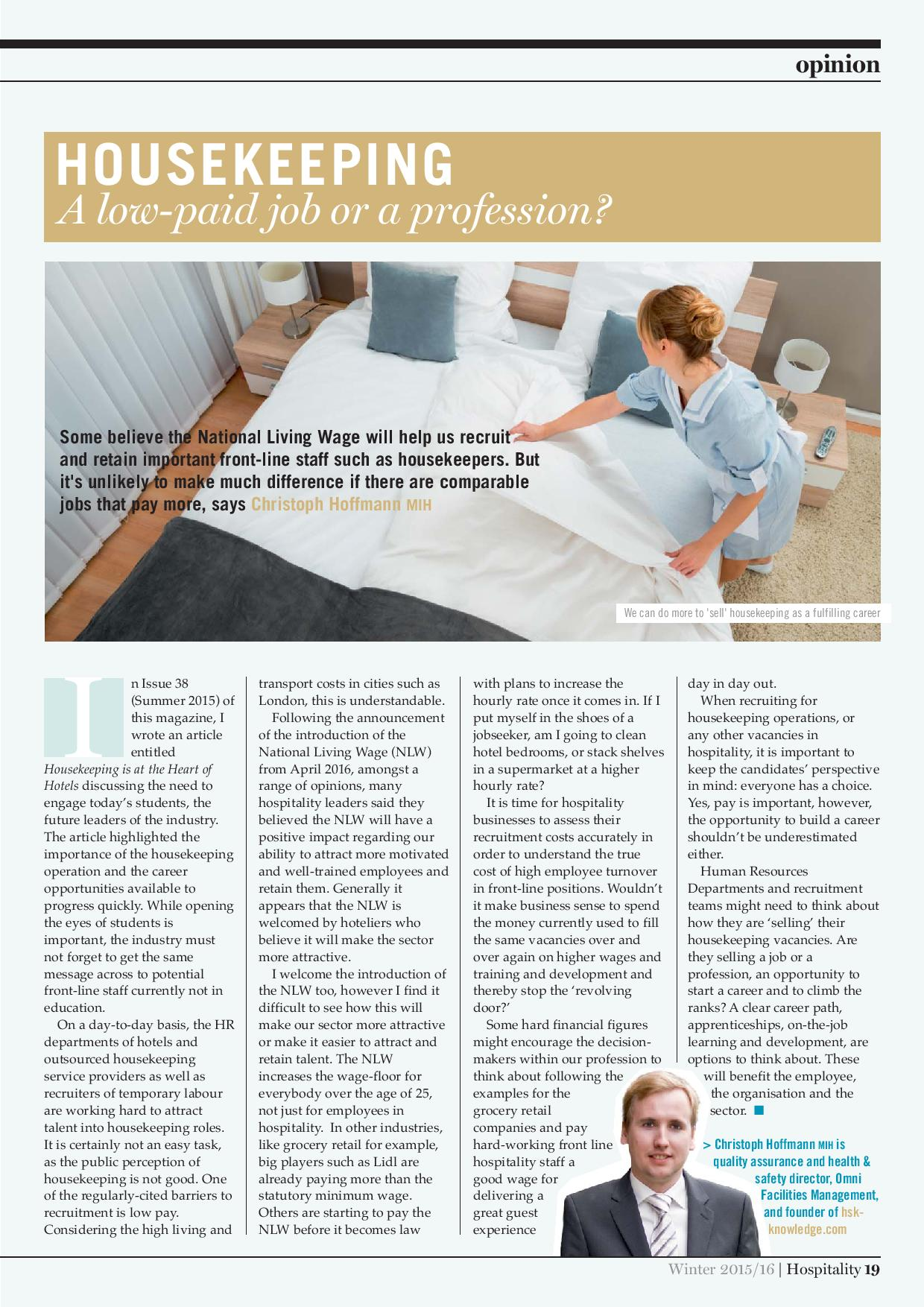 Housekeeping – A low-paid job or a profession?