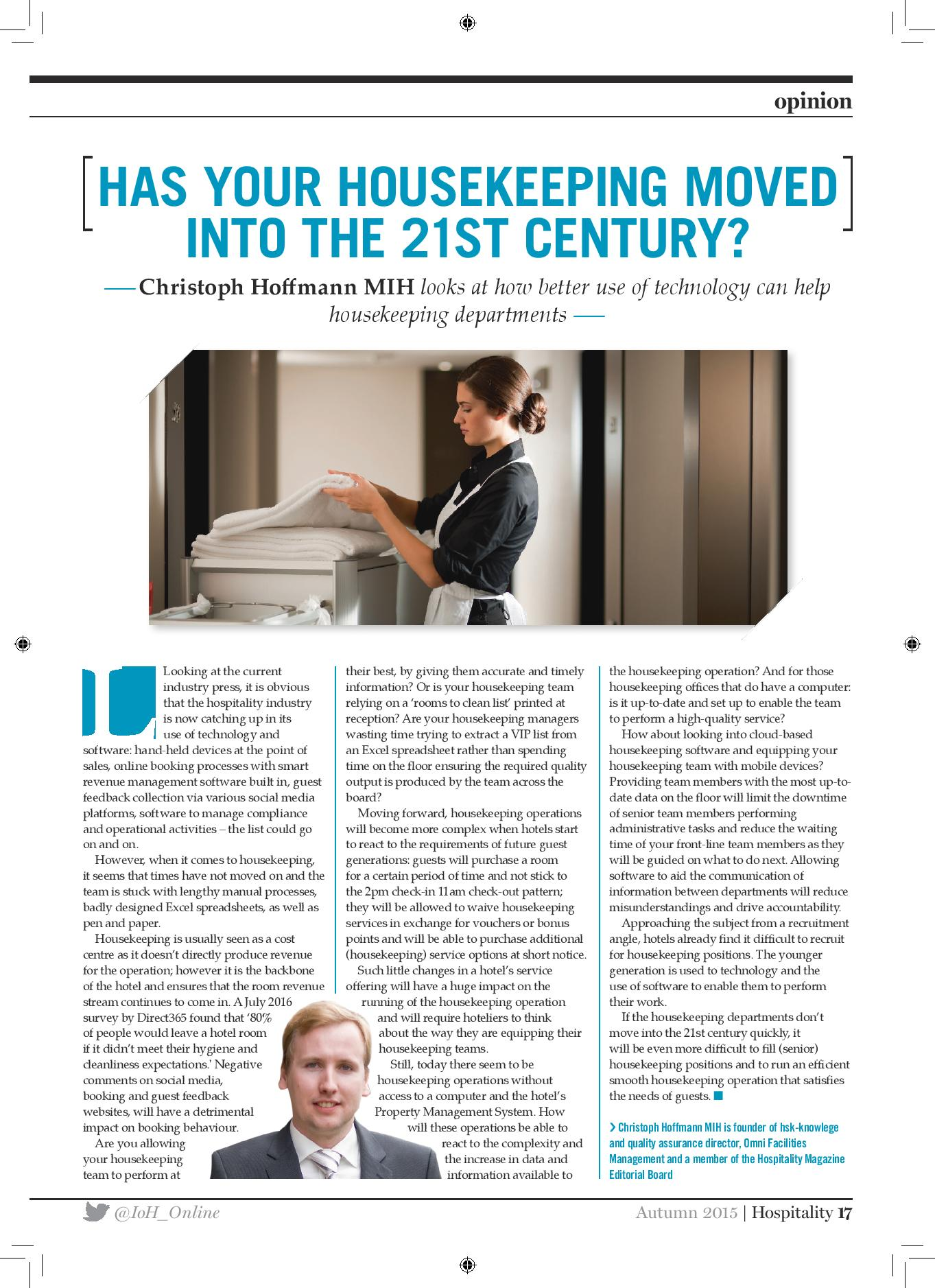 Has your housekeeping moved into the 21st century?